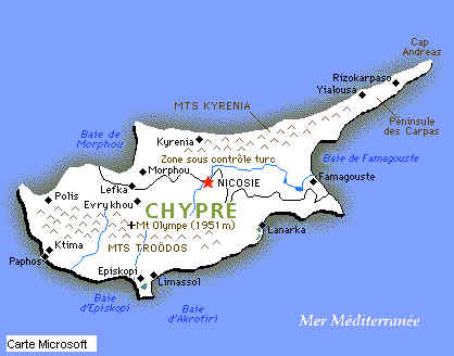 Carte Chypre Du Nord.Tourisme A Chypre Occupee Zone Nord